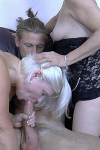 Hot blond chubby blowjob and hardcore threesome action