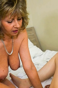 Naughty old and young lesbians masturbating hard with their sextoys
