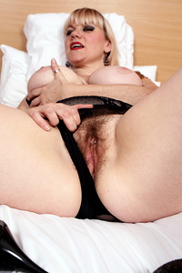 Hairy British housewife getting very naughty