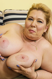 Curvy granny ladies possessing extreme sized breasts and showing them off