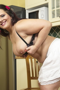 Cute chubby housewife playing with herself